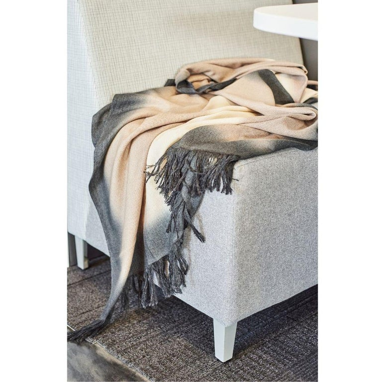 Toast Handloom Merino Throw / Blanket in Neutral Tones with Fringes For Sale 2