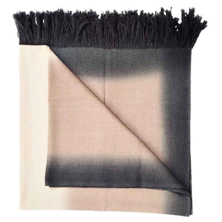 Toast Handloom Merino Throw / Blanket in Neutral Tones with Fringes For Sale