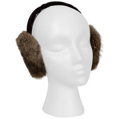 Toasty Fox Fur and Velvet Earmuffs, 1960s
