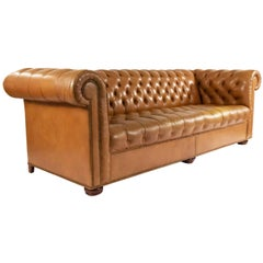 Tobacco Brown Leather Chesterfield Sofa