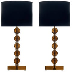 Tobacco Colored Murano Glass Lamps