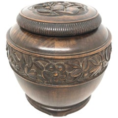 Tobacco Jar Wood Carved Black Forest Brienz German Antique, 1900s