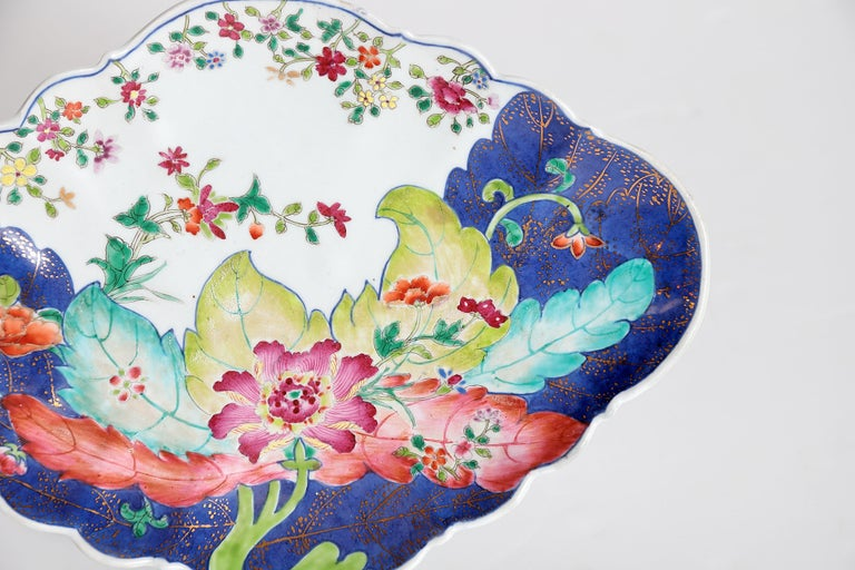 19th Century Tobacco Leaf Pattern Chinese Export Dishes, Pair For Sale