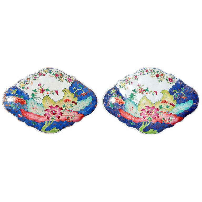 Tobacco Leaf Pattern Chinese Export Dishes, Pair For Sale
