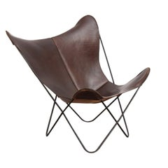 Tobacco Leather Hardoy Butterfly Chair for Knoll