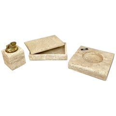 Tobacco Set in Travertine Ashtray Lighter and Box by Cerri Nestore, Italy, 1970s