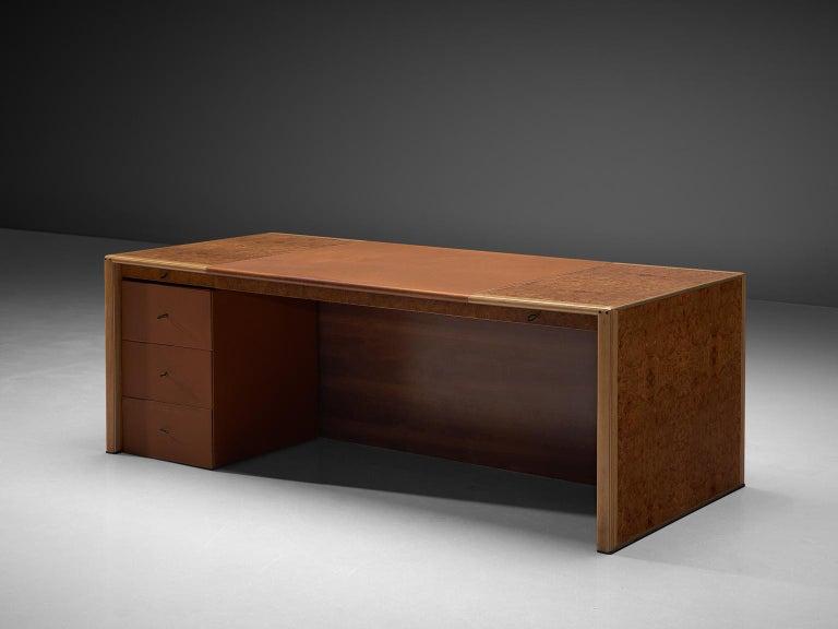 Italian Tobia & Afra Scarpa 'Artona' Desk with Cognac Leather Top For Sale