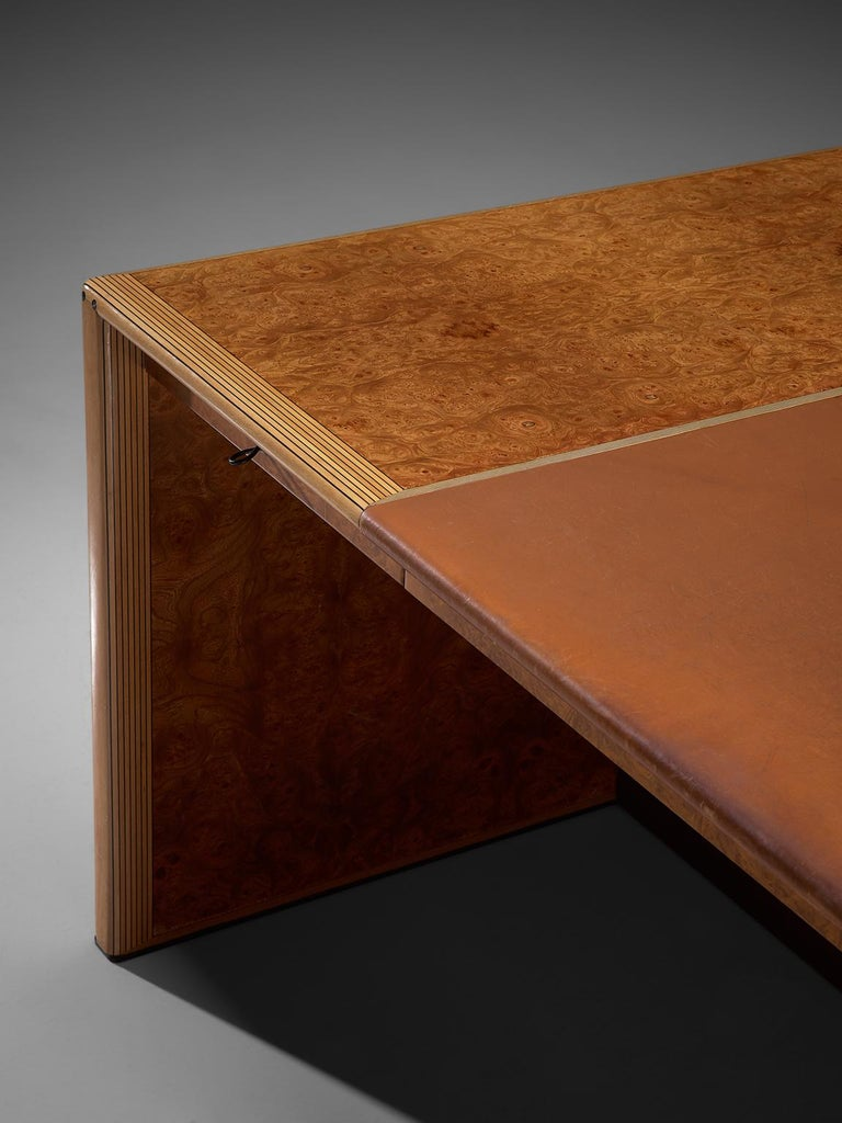 Tobia & Afra Scarpa 'Artona' Desk with Cognac Leather Top In Good Condition For Sale In Waalwijk, NL