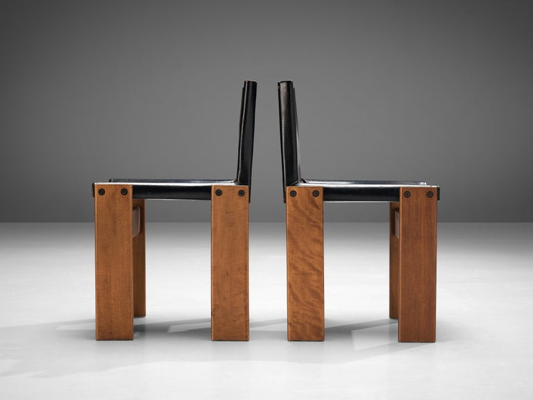 Tobia & Afra Scarpa for Molteni Dining Chairs Model 'Monk' in Black Leather 5