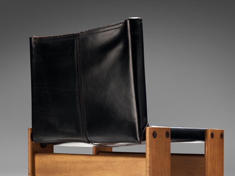 Mid-Century Modern Tobia & Afra Scarpa for Molteni Dining Chairs Model 'Monk' in Black Leather