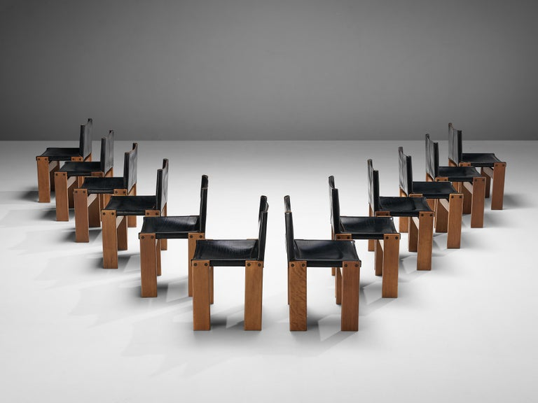 Italian Tobia & Afra Scarpa for Molteni Dining Chairs Model 'Monk' in Black Leather