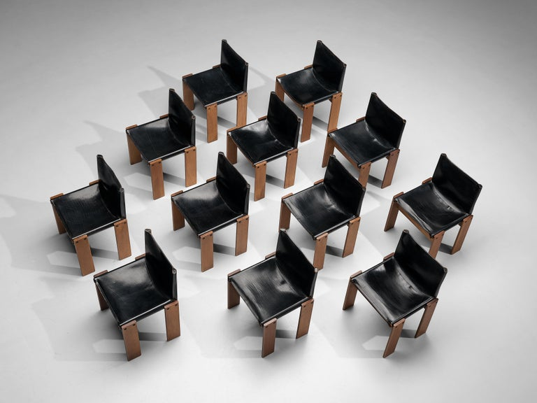 Late 20th Century Tobia & Afra Scarpa for Molteni Dining Chairs Model 'Monk' in Black Leather