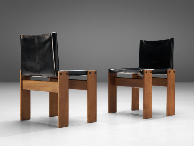 Tobia & Afra Scarpa for Molteni Dining Chairs Model 'Monk' in Black Leather 1