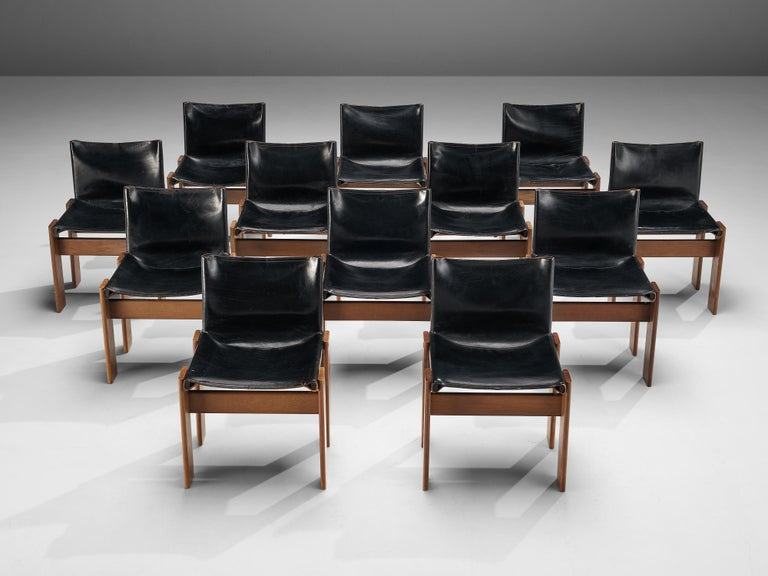 Tobia & Afra Scarpa for Molteni Dining Chairs Model 'Monk' in Black Leather 2