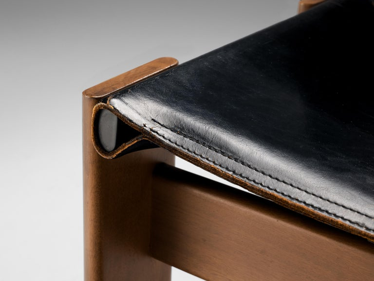 Tobia & Afra Scarpa for Molteni Dining Chairs Model 'Monk' in Black Leather 3