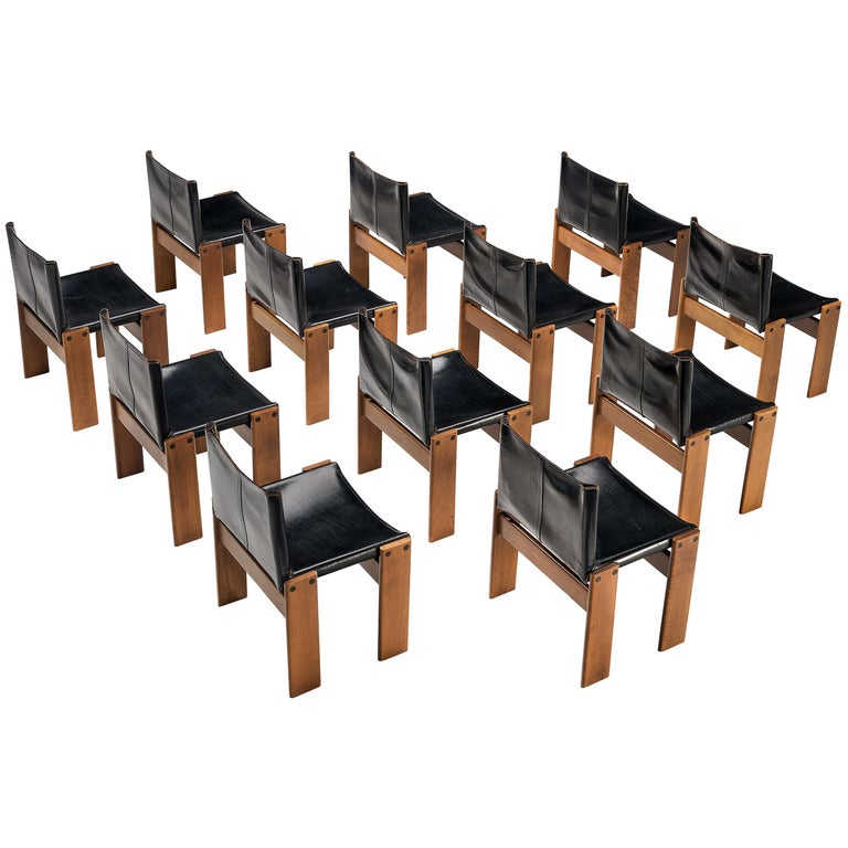 Tobia & Afra Scarpa for Molteni Dining Chairs Model 'Monk' in Black Leather