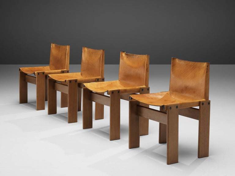 Afra & Tobia Scarpa for Molteni, 'Monk' dining chairs, patinated beech, cognac leather, Italy, 1974  Set of 'Monk' chairs by Italian designers Afra & Tobia Scarpa. The cognac leather forms a striking combination with the blond wood. Interesting is