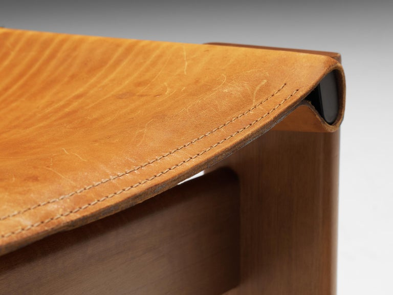 Mid-Century Modern Tobia & Afra Scarpa for Molteni 'Monk' Chairs in Cognac Leather For Sale