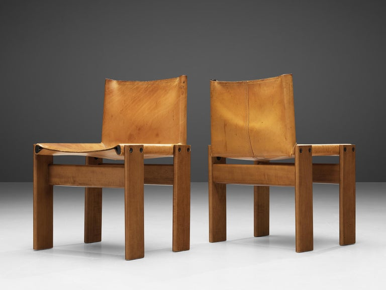 Italian Tobia & Afra Scarpa for Molteni 'Monk' Chairs in Cognac Leather For Sale