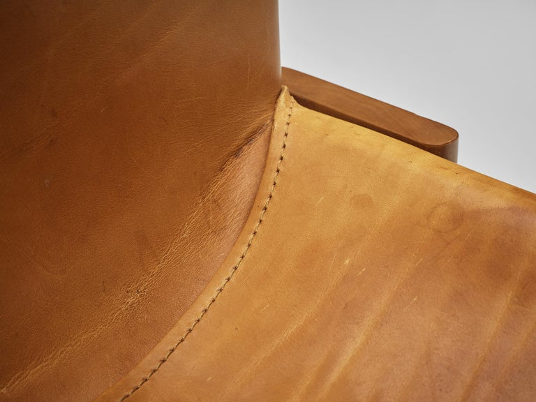 Tobia & Afra Scarpa for Molteni 'Monk' Chairs in Cognac Leather In Good Condition For Sale In Waalwijk, NL