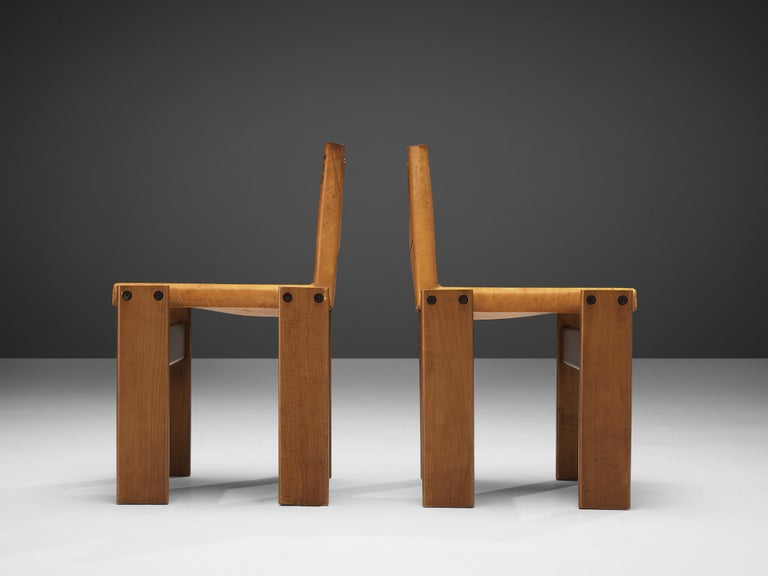 Late 20th Century Tobia & Afra Scarpa for Molteni 'Monk' Chairs in Cognac Leather For Sale