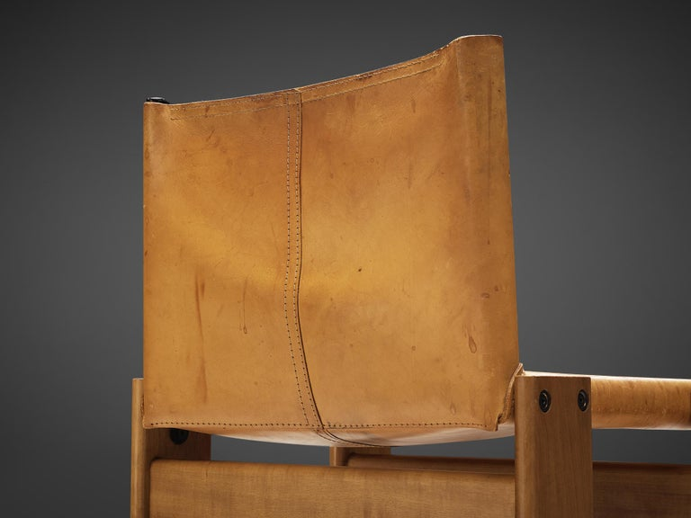 Tobia & Afra Scarpa for Molteni 'Monk' Chairs in Cognac Leather For Sale 1