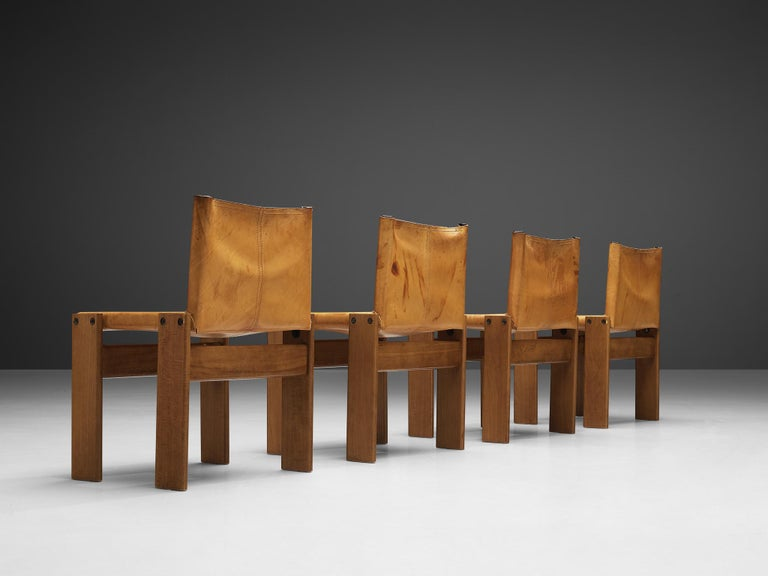 Tobia & Afra Scarpa for Molteni 'Monk' Chairs in Cognac Leather For Sale 2