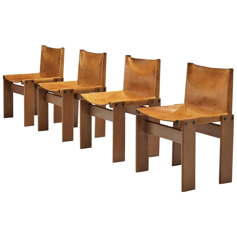 Tobia & Afra Scarpa for Molteni 'Monk' Chairs in Cognac Leather For Sale