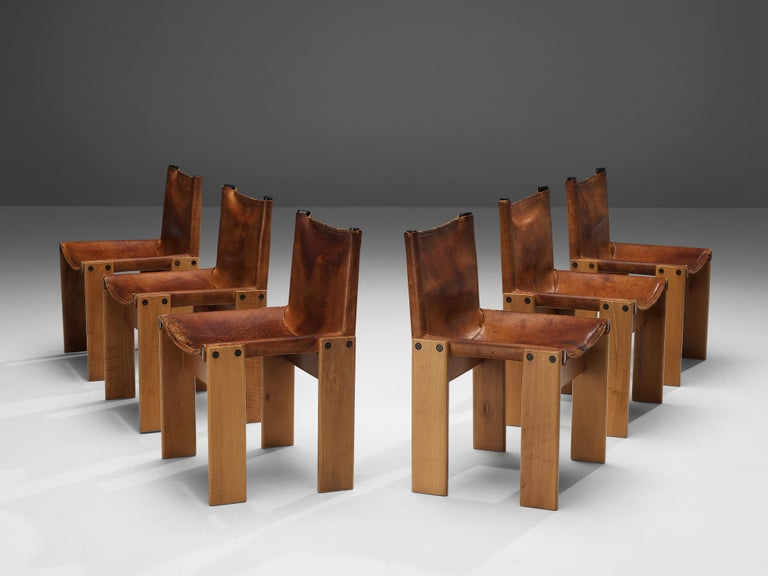 Afra & Tobia Scarpa for Molteni, 'Monk' dining chairs, patinated beech, cognac leather, Italy, 1974  Set of six 'Monk' chairs by Italian designers Afra & Tobia Scarpa. The cognac leather forms a striking combination with the blond wood.