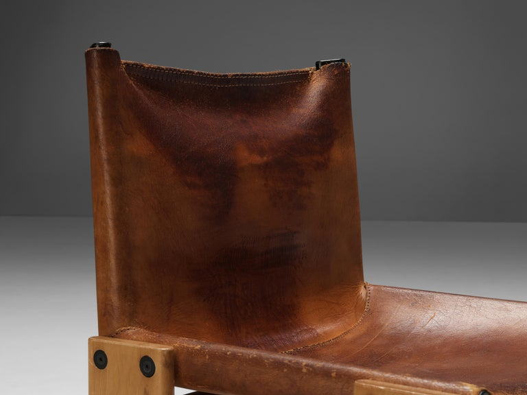 Mid-Century Modern Tobia & Afra Scarpa for Molteni Set of Six 'Monk' Chairs in Cognac Leather For Sale