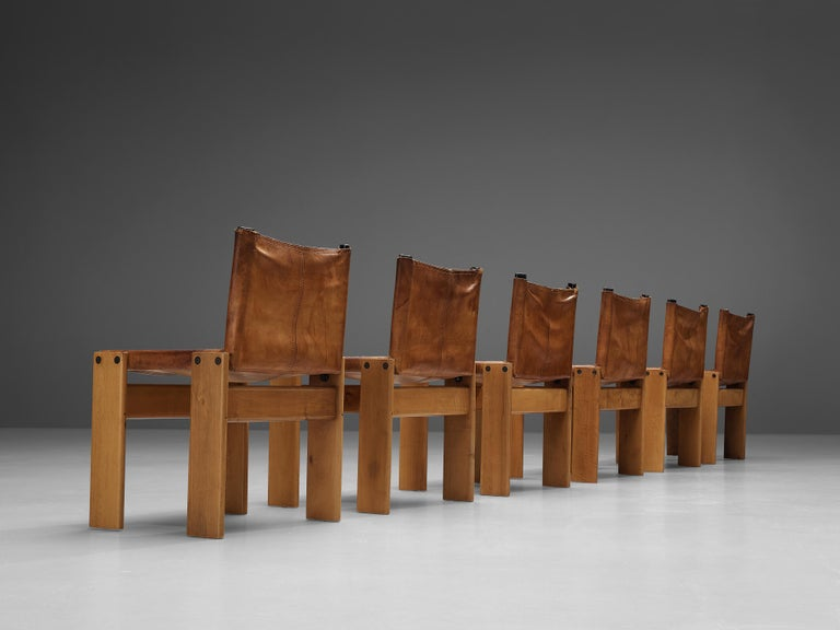 Italian Tobia & Afra Scarpa for Molteni Set of Six 'Monk' Chairs in Cognac Leather For Sale