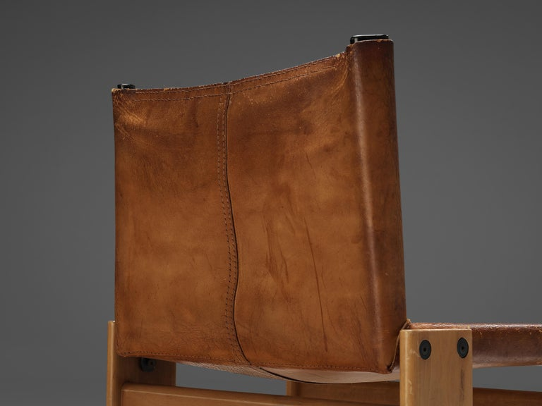 Tobia & Afra Scarpa for Molteni Set of Six 'Monk' Chairs in Cognac Leather In Good Condition For Sale In Waalwijk, NL