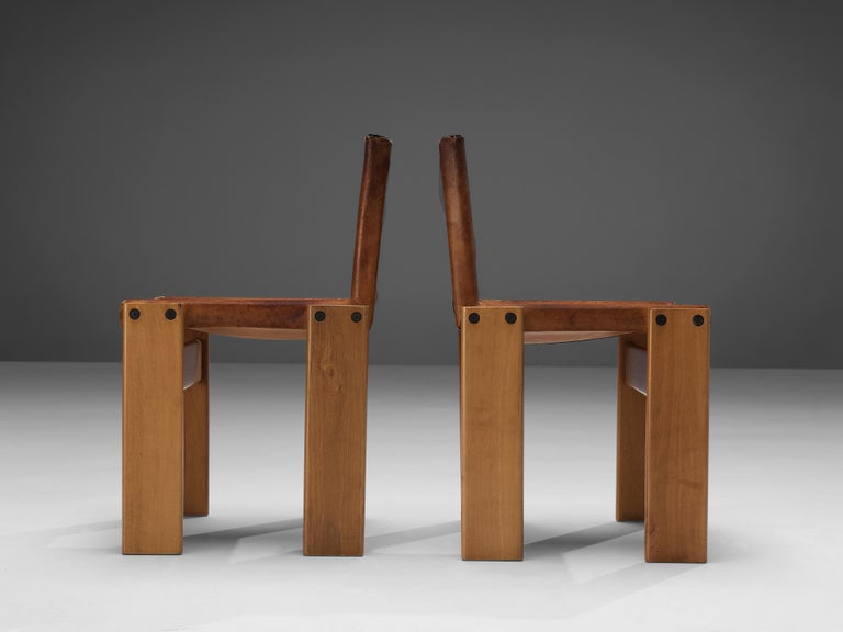 Late 20th Century Tobia & Afra Scarpa for Molteni Set of Six 'Monk' Chairs in Cognac Leather For Sale