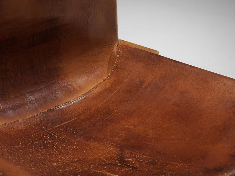 Tobia & Afra Scarpa for Molteni Set of Six 'Monk' Chairs in Cognac Leather For Sale 1