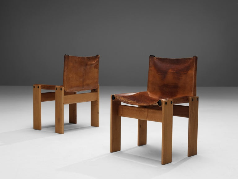 Tobia & Afra Scarpa for Molteni Set of Six 'Monk' Chairs in Cognac Leather For Sale 2