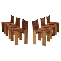 Tobia & Afra Scarpa for Molteni Set of Six 'Monk' Chairs in Cognac Leather