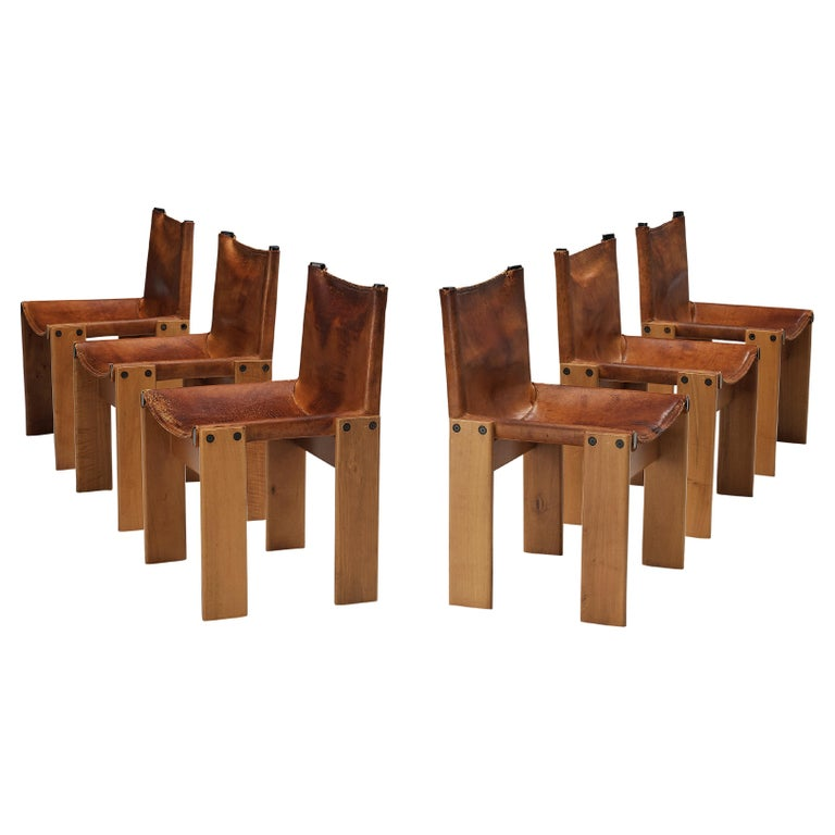Tobia & Afra Scarpa for Molteni Set of Six 'Monk' Chairs in Cognac Leather For Sale