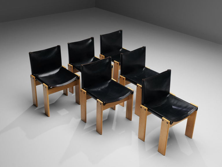 Tobia & Afra Scarpa for Molteni Six 'Monk' Chairs in Black Leather For Sale 3