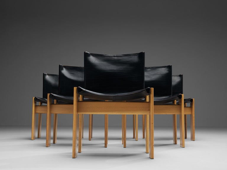 Mid-Century Modern Tobia & Afra Scarpa for Molteni Six 'Monk' Chairs in Black Leather For Sale