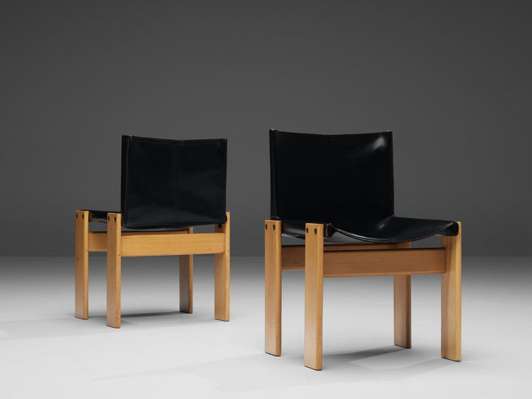 Italian Tobia & Afra Scarpa for Molteni Six 'Monk' Chairs in Black Leather For Sale