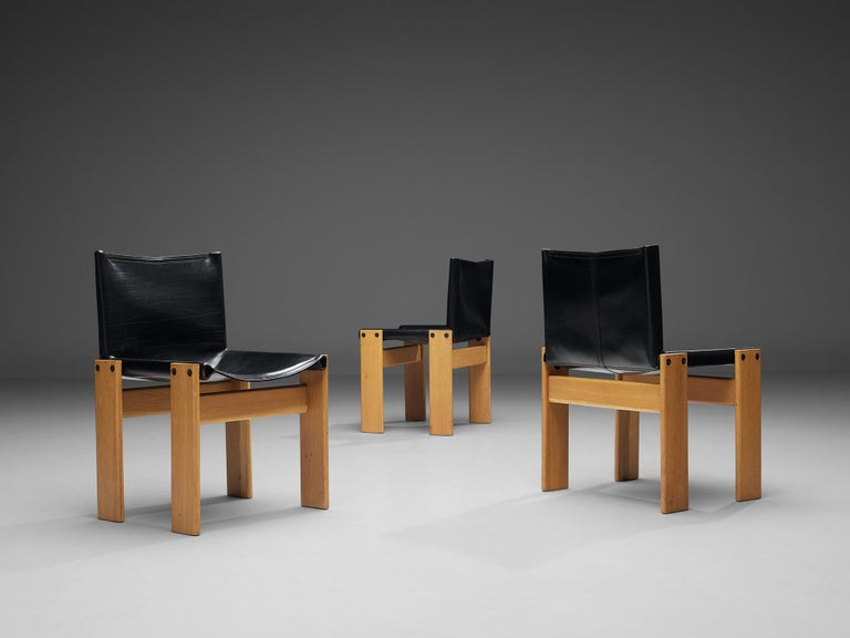 Tobia & Afra Scarpa for Molteni Six 'Monk' Chairs in Black Leather In Good Condition For Sale In Waalwijk, NL