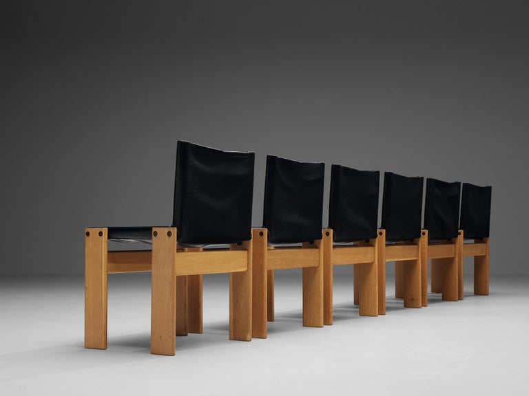 Late 20th Century Tobia & Afra Scarpa for Molteni Six 'Monk' Chairs in Black Leather For Sale
