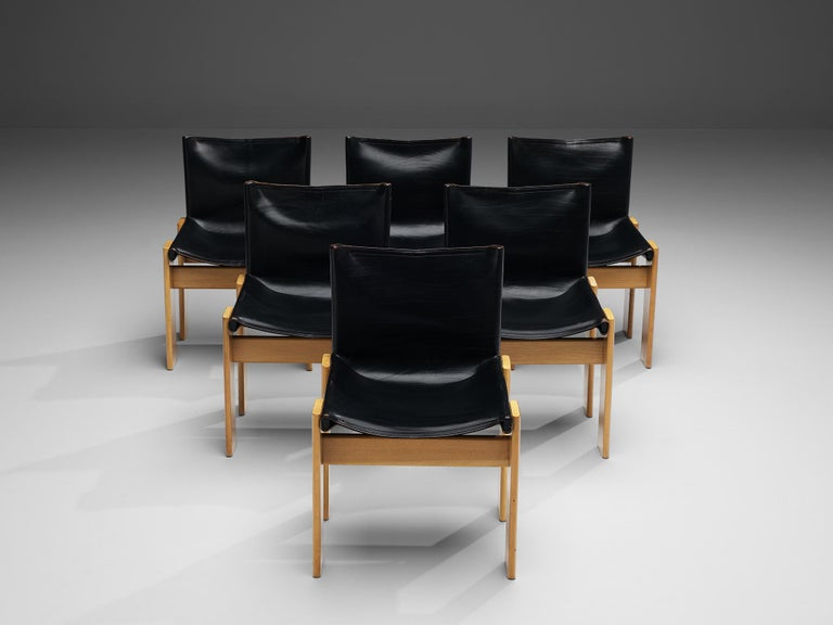 Oak Tobia & Afra Scarpa for Molteni Six 'Monk' Chairs in Black Leather For Sale