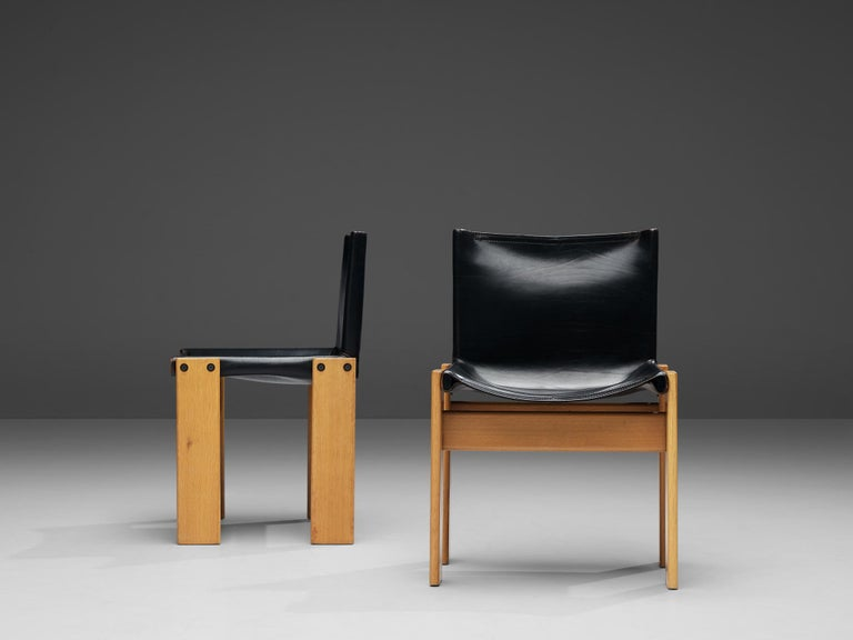 Tobia & Afra Scarpa for Molteni Six 'Monk' Chairs in Black Leather For Sale 1