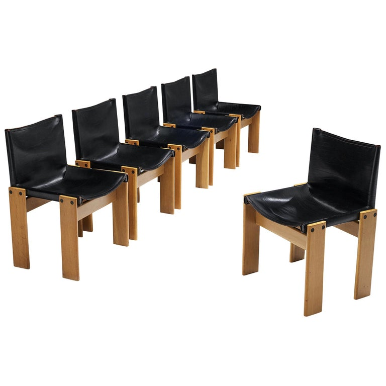 Tobia & Afra Scarpa for Molteni Six 'Monk' Chairs in Black Leather For Sale
