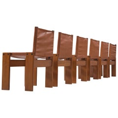 Tobia & Afra Scarpa for Molteni Six 'Monk' Chairs in Cognac Leatherette