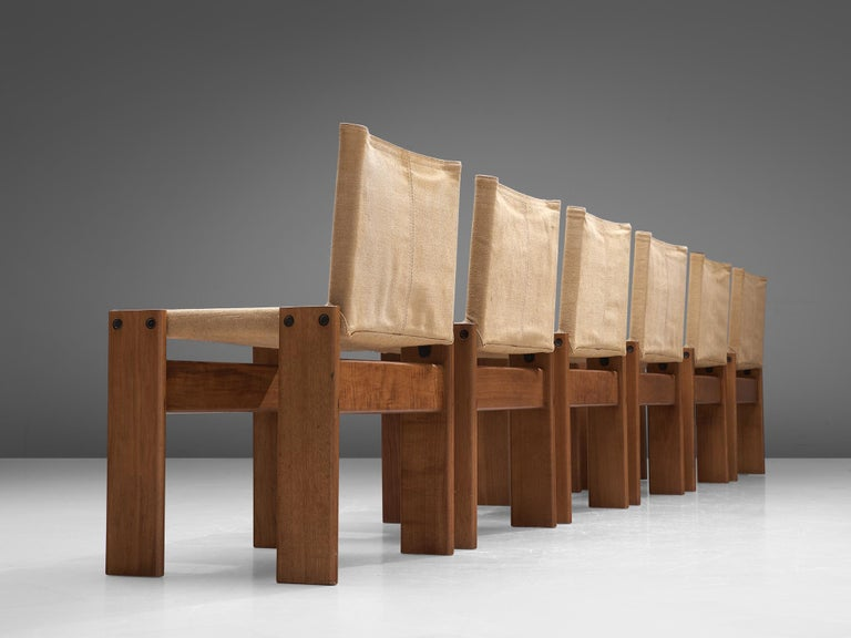 Mid-Century Modern Afra & Tobia Scarpa for Molteni Six Monk Chairs in Naturel Canvas For Sale