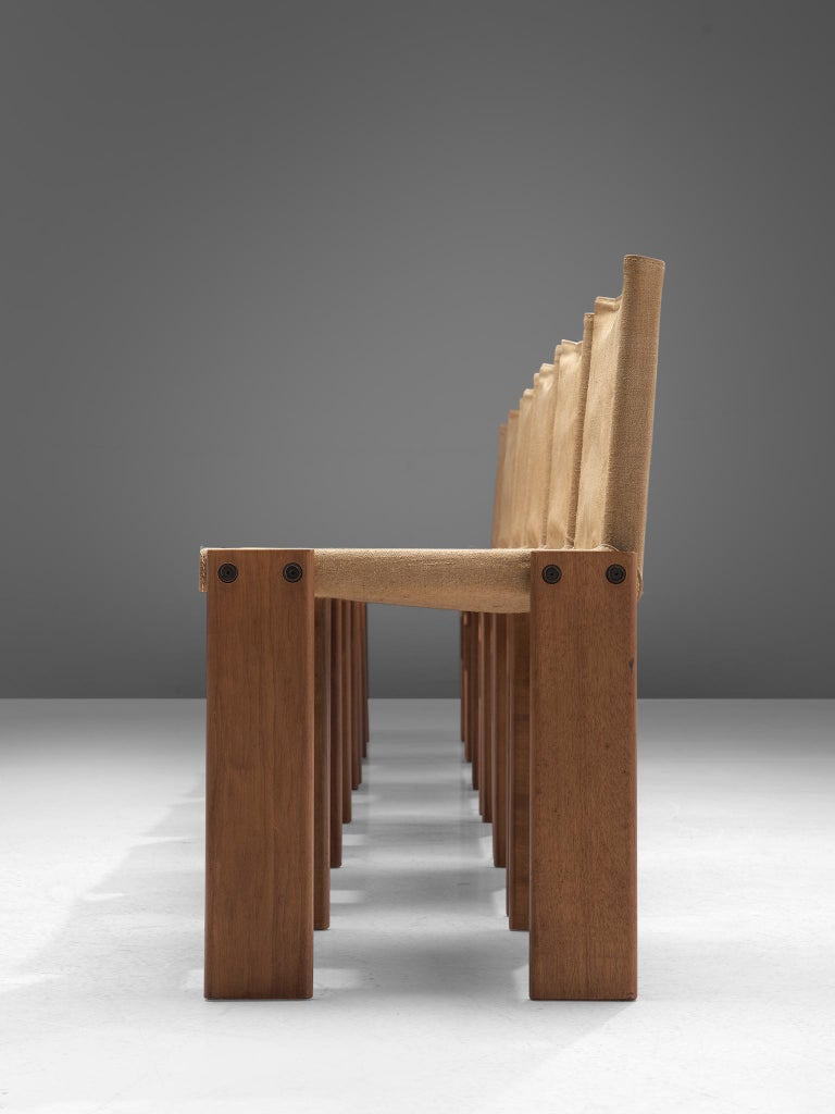 Italian Afra & Tobia Scarpa for Molteni Six Monk Chairs in Naturel Canvas For Sale