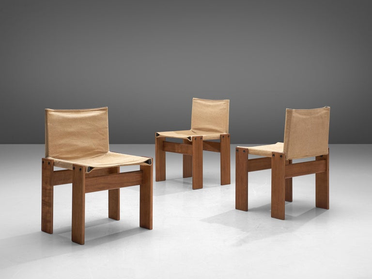Afra & Tobia Scarpa for Molteni Six Monk Chairs in Naturel Canvas In Good Condition For Sale In Waalwijk, NL