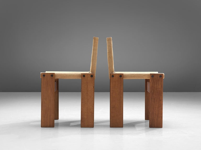 Late 20th Century Afra & Tobia Scarpa for Molteni Six Monk Chairs in Naturel Canvas For Sale